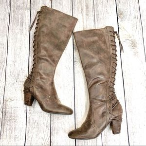 Report Distressed Brown Lace Up Knee High Boots